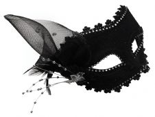 Black Diamante Mask with Feathers